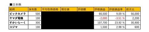 2018年12月の資産運用状況日本株式